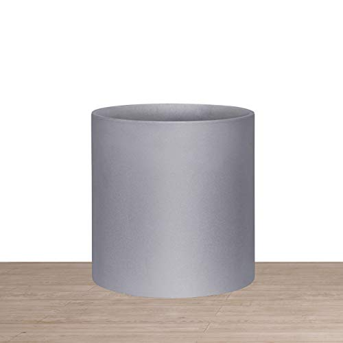 Indoor 8 Inches Round Modern Planter Pot - Grey - Easy Grow Fiberglass Resin Planter with Drainage Hole and Plug - by D'vine Dev