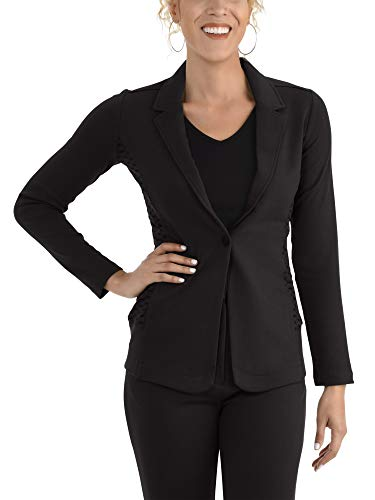 Casual Work Soft Stretch Long Sleeve Women's Blazer, Brilliant Black, Large