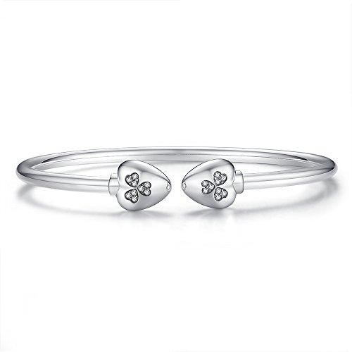 Glamulet Jewelry - 17 cm Heart Clover Bangle Bracelet -- 925 Sterling Silver -- Fits Pandora Charm by Glamulet (Image #1)