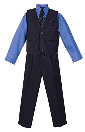 (Avery Hill Boys' 4 Piece Pinstripe Vest Set Navy w/Azure 10)