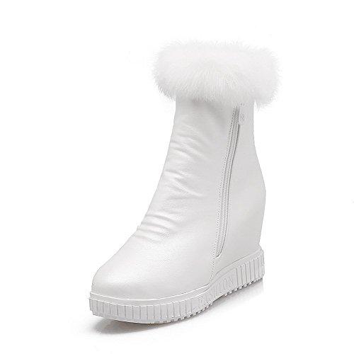 AgooLar Damen Rund Zehe PU Stiefel Weiß-Inner Hohe Absatz
