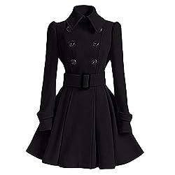 Women Winter Warm Jacket Grefer Artificial Woolen Coat Trench Parka Belt Overcoat Outwear