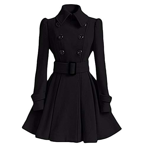 Women Winter Warm Jacket GREFER Artificial Woolen Coat Trench Parka Belt Overcoat Outwear