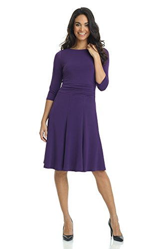 Rekucci Women's Flippy Fit N' Flare Dress with 3/4 Sleeves (18,Aubergine)