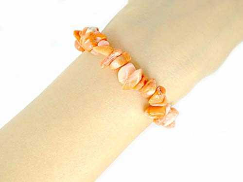 jennysun2010 Natural Pink Coral Gemstone 5-8mm Freeformed Chip Beads Stretchy Bracelet Healing Reiki Chakra 7.5