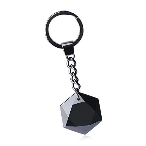 COAI Star of David Black Obsidian Stone Cute Keychain Car Bag Accessory (Obsidian Star)