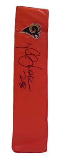 St. Louis Rams Marshall Faulk Autographed Hand Signed Saint Louis Rams Full Size Logo Football Touchdown End Zone Pylon with Proof Photo of Signing and COA- SDSU San Diego State University Aztecs ()