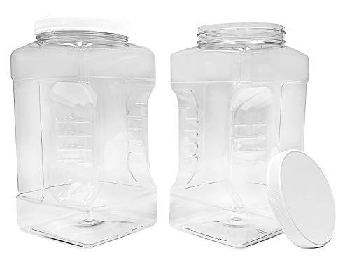 ljdeals 1 Gallon Clear Plastic Storage Containers Jars with Lids, Pack of 2, Easy Grip Handles, BPA Free, FDA Approved, Food Safe, Made in USA