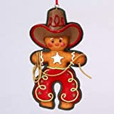 "5"" FLATBACK RESIN GINGERBREAD COWBOY ORNAMENT - Christmas Ornament"