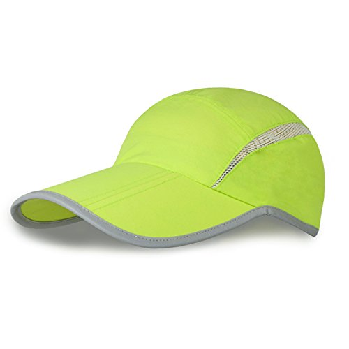 MerryJuly Baseball Cap Quick Dry Sun Hats UPF50+ Portable Travel Hats for Sports Golf Running Fishing Outdoor Research with Foldable Long Large Bill (Lime Green)