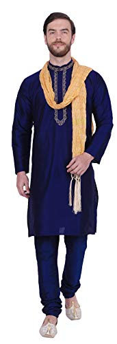 (Party Wear Dupion Silk Men's Kurta Pajama with Scarf India Clothing (Blue, L))