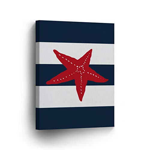 - Starfish Red Illustration Navy Blue and White Striped Background Nautical Decor Canvas Print Coastal Wall Art Home Decoration Stretched Ready to Hang-%100 Handmade in The USA- 12x8