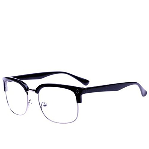 SupremeLife Half Frame Eyeglass, Big Rivet Decor, Men Women Unisex Glasses, Plain Glass Spectacles Clear Lens Eyewear - Chic Eyewear Geek