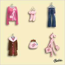 2006 Mini Ornaments - Hallmark Barbie Fashion Minis Miniature Set 2006 Ornament