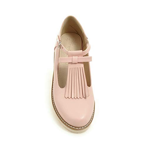 Couleur Cuir À Légeres Pu Rose Bas Unie Femme Agoolar Chaussures Rond Talon Boucle Gmbdb013236 qExa864