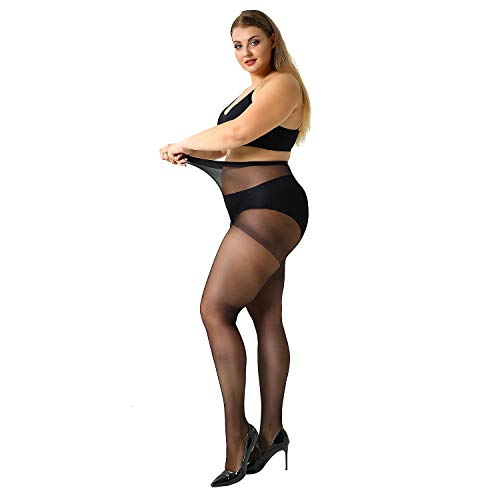 MANZI Women's 4 Pairs Plus Size Ultra-Soft Tights Pantyhose wih 20 Denier ()