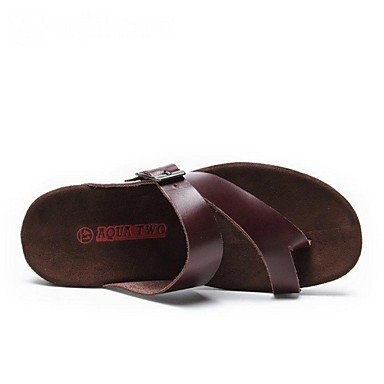 Los zapatos de los hombres T-correa plana sandalias de cuero zapatos de tacón más colores disponibles Brown