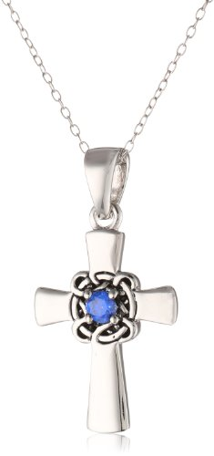 """Sterling Silver Celtic Cross with Blue Sapphire Center Pendant Necklace with Rolo Chain, 18"""""""