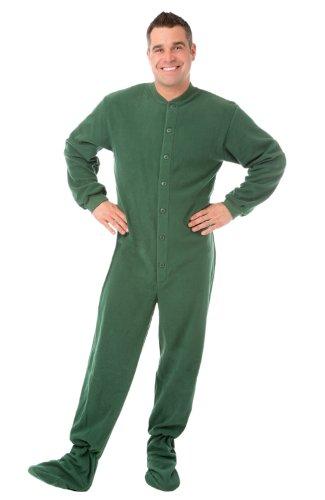 - Big Feet PJs Green Micro-Polar Fleece Adult Footed Pajamas NO Drop Seat Onesie