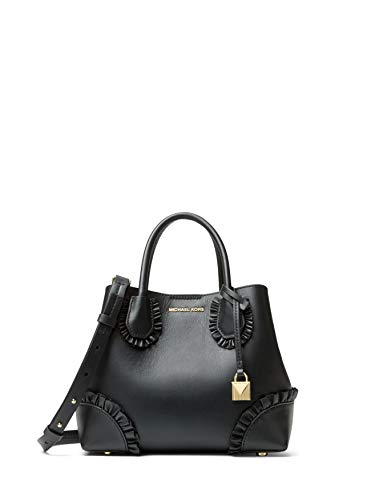 (MICHAEL Michael Kors Mercer Gallery Small Ruffled Leather Satchel Bag - Black)