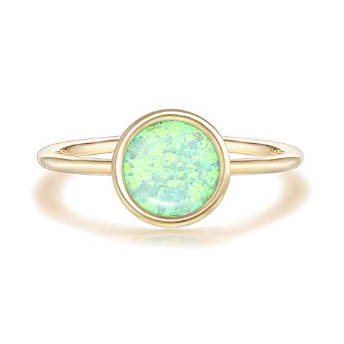 PAVOI 14K Yellow Gold Plated Stackable Ring Created Green Opal Stacking Ring