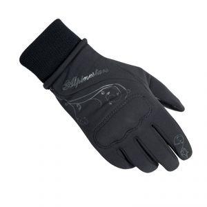Alpinestars Stella C1 Windstopper Womens Gloves , Gender: Womens, Distinct Name: Black, Size: Md, Primary Color: Black, Apparel Material: Leather 3530011-10-M