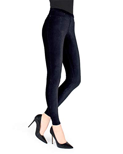 MeMoi Thin-Rib Stretch Corduroy Leggings | Women's Premium Leggings Navy MQ 001 Medium/Large