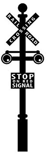 Wall Vinyl Decal Home Decor - Art Sticker Railroad Crossing Sign Train Crossing Train - Home Room Removable Mural HDS11106