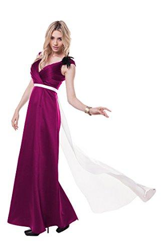 Ausschnitt Beauty Emily Doppel Kleid Rückenfrei Watteau Tailing Rosenrot V Abend Arm Ohne qwX7Rwr