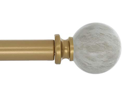 Meriville 1-Inch Diameter Single Window Treatment Curtain Rod, Spanish White Marble Ball Finial, 48-inch to 84-inch Adjustable, Royal Gold