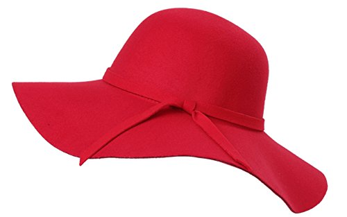 Red Hat Wool Brim Large (Young_Me Women's Foldable Wide Brim Wool Ribbon Band Floppy Hat (Red))