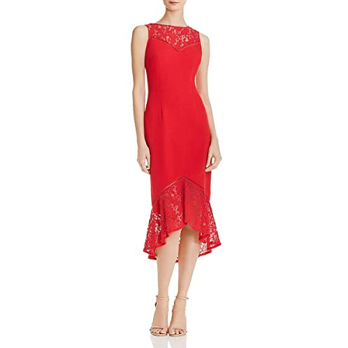 Aidan by Aidan Mattox Women's Crepe and lace Cocktail Dress with Illusion Hem and Bodice, red, 4