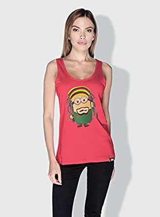 Creo Bob Marley Minions Tank Top For Women - Pink, L
