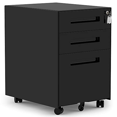 3 Drawers Mobile File Cabinet with Lock, Under Desk Black File Cabinet with Wheels, Fully Assembled