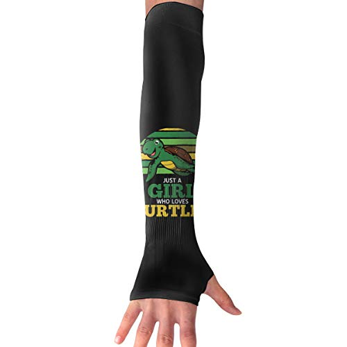 WAY.MAY Just A Who Loves Turtles Sun Protection Sleeve Long Arm Fingerless Gloves Outdoor Sleeve
