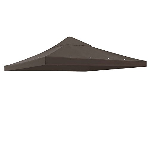 Durable 10x10 Ft Garden Canopy Gazebo Top Cover Replacement Coffee Liqueur w/ 200g/sqm Polyester Waterproof for Outdoor Patio Relaxation Reading Cafe Cafe Liqueur