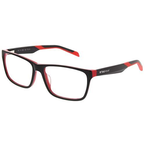TAG Heuer B-URBAN 0555 C-002 Matte Black On Red Plastic Rectangle Eyeglasses