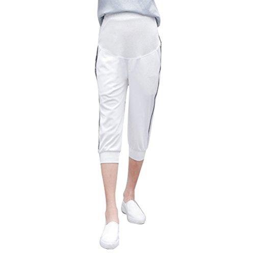 Zhhlaixing pantalones de maternidad Pregnancy Women Capri Pants Maternity Clothes Care Bdomen Belly Sweatpants White