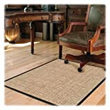 Deflect-o Chunky Wool Jute Chair Mat, Hard Floor, 46 by 60-Inch, Tan