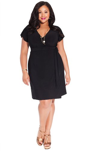 IGIGI Women's Plus Size Geneva Wrap Dress in Black 26/28