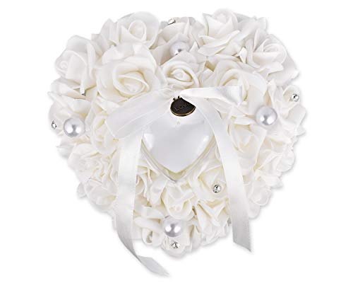 DS.DISTINCTIVE STYLE Ace Select Wedding Ring Pillow Ceremony Heart Shaped Ring Bearer Cushion Weddings Ring Box Holder Romantic Wedding Accessories - White - 13 x 15