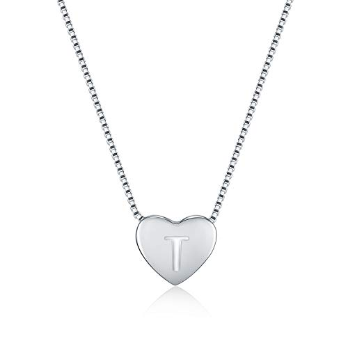 (WRISTCHIE Initial Heart Necklace 925 Sterling Silver Tiny Silver Floating Heart Necklace 18