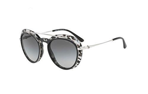 Giorgio Armani AR6055F - 301511 Sunglasses Silver/Black Spotted w/Grey Fade Lens 54mm