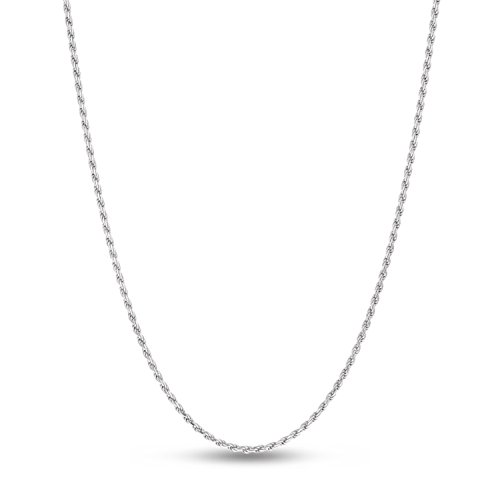 Sterling Silver Rhodium Plated Diamond-Cut Rope Chain Necklace, 1.8mm 16