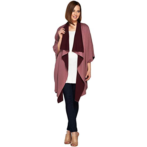 H Halston Double Knit Poncho Dusty Mve Brdx L New A280154 from H by Halston