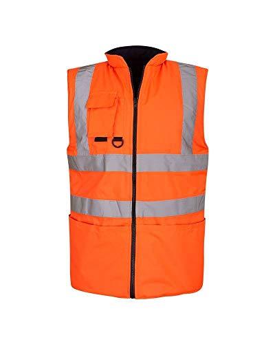 Shelikes HI VIS VIZ Visibility Reversible Body Warmer Gilet Sleeveless Waistcoat [Orange Large]