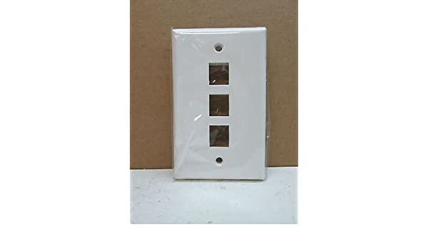 LOT of 10 FACE PLATE 3 PORT WHITE