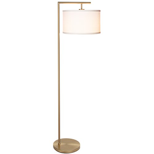 Antique Brass Base - Brightech Montage Modern LED Floor Lamp with Hanging Lamp Shade - Tall Industrial Downlight Lamp for Living Room, Family Room, Office or Bedroom, Energy Saving and Long Lasting – Antique Brass