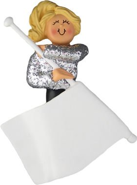 Flag Girl Female Blonde Personalized Christmas Tree Ornament