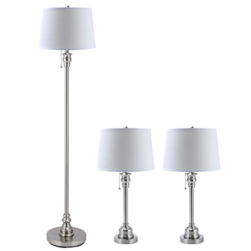 CO-Z 3 Lamp Set with White Fabric Shade, Modern Table lamp and Floor Lamp for Living Room Bedroom in Steel Finish, ETL Certificate (26 + 26 + 58 Inches in Height). ()